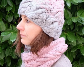 Complete with Hat and scarf, handmade, colour grey/pink, knitted braids