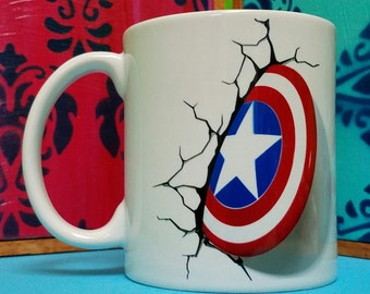 Stuck Captain America Shield Mug