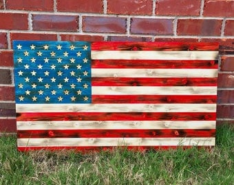 Wood Flag, American Wood Flag, Wooden Flag, American Flag, Wood American Flag,  Distressed Flag, Charred Wood Flag, Wood Burned Flag, Flag