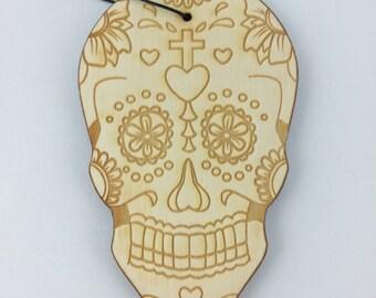 Dia Los Muertos Sugar Skull - Rescentable Wood Car Air Freshener Kit