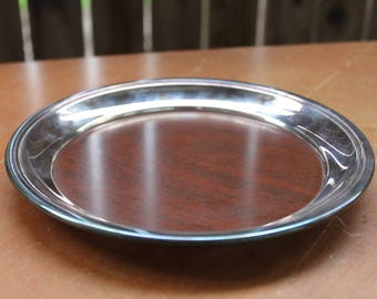 Round Silver Tray Vintage Mid Century 1960's Wood Laminate Serving Tray Westinghouse Micarta Crescent Silverware Faux Wood Tray Barware