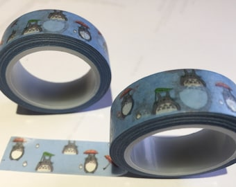 Totoro Japanese Washi Tape - Decorative sticky craft roll.