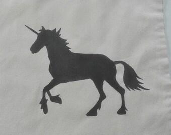 Unicorn/Unicorn, hand-painted jute bag