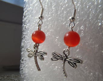 Deep Red Cats Eye Dragonfly earrings