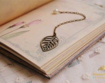 Retro leaf bookmark,chain bookmark,leaf bookmark,gift for book lover,vintage bookmark