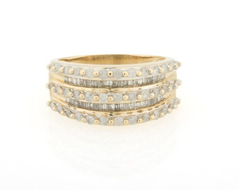 Solid 14K Yellow Gold & 60 PTS. Sparkling Round Baguette Diamonds Band Ring