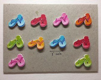 Flip Flops / Sandals Wood Button Magnets - Set of 10