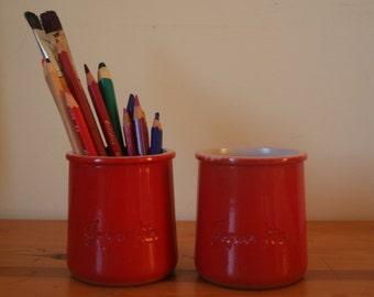 2 jars of yoghurt La farmer. Terracotta Pots glazed red pots. Made in France. Pencil pots. Decorative jars. Vintage.