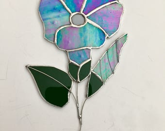Stailed glass blue morning glory flower suncatcher
