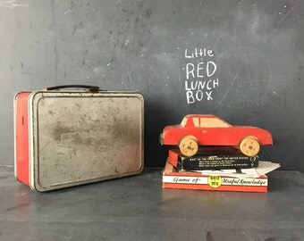 Vintage red and SIlver Metal Lunchbox