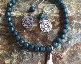 Bohemian style set bracelet and earrings