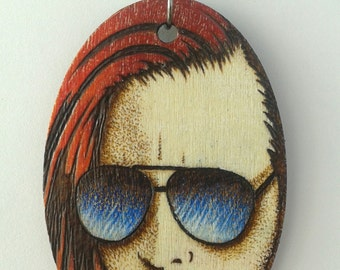 Marilyn Manson The Omega in Shades Portrait Woodburned Oval Necklace