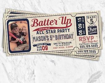 Baseball Birthday Invitations, baseball, tickets, stubs, all star, batter up, digital file, printable