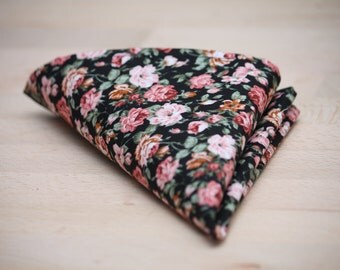 Men's Black and Pink Floral Cotton Pocket Square Handkerchief Hanky Hankie Squares Ties Necktie Tie Suits Men