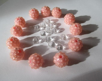 Pink Lucite Bumpy Beads with Accent Beads