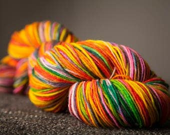 100 grams superwash merino sock yarn in JAWBREAKER