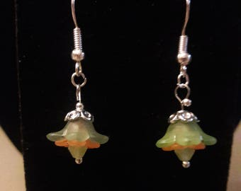 Cute green and orange floral earrings