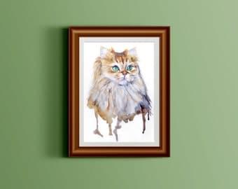 Custom watercolor cat portrait FREE SHIPPING