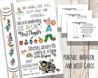 Books and Fairytales Printable Baby Shower Invitation and Card Insert