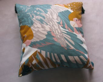 Cushion exotic parrots, teal, yellow, cotton and linen, 48 x 48 on sale 40%