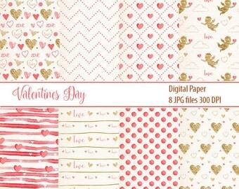 Valentine Digital Paper, love paper, gold pattern, VALENTINE WATERCOLOR, hearts, love, cupid, watercolor patterns