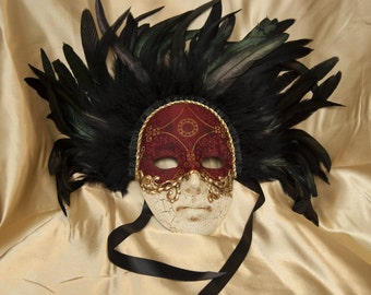 Venetian-Style Feather-Crowned Full Face Mask