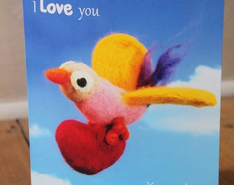 "Personalised Valentine's Card, ""You make my heart soar"" bird"