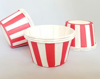 High Quality Pleated Red Striped Baking Cups Cupcake Cases Muffin Cups