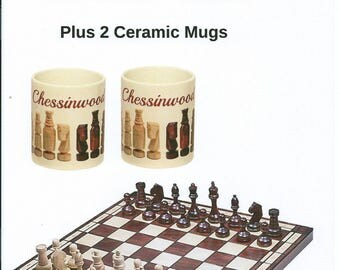 LARGE Chessinwood Hand Crafted Tournament No.8 Chess Set with 2 Ceramic Chess Mugs