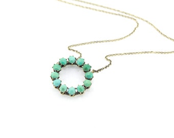 Antique Victorian turquoise necklace on an aged 9ct gold chain.
