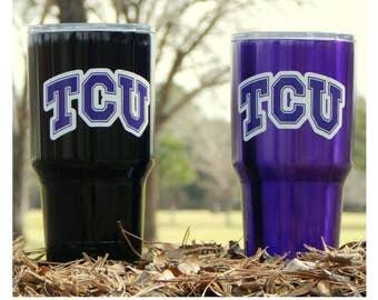 YETI - Authentic - TCU Horned Frogs Yeti Cup 30 oz Rambler Tumbler Powder Coated Yeti Mug Cup Texas Christian Horned Frogs Mug 30oz Purple