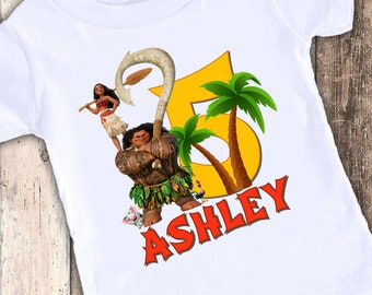 Moana custom designed birthday t shirt tshirt personalized