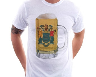 New Jersey State Flag Beer Mug Tee, Unisex, Home State Tee, State Pride, State Flag, Beer Tee, Beer T-Shirt, Beer Thinkers, Beer LoversTee