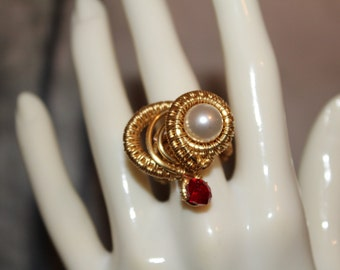 Valentine's Wire Wrap Gold Pearl Ruby Heart  with Ruby Bead and  Swarovski Pearl Crystal Handmade for Women