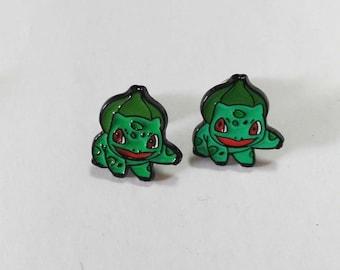 Cute Bulbasaur Enamel Stud Earrings
