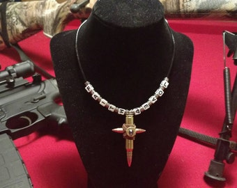 Handmade Faith and Love bullet cross necklace.