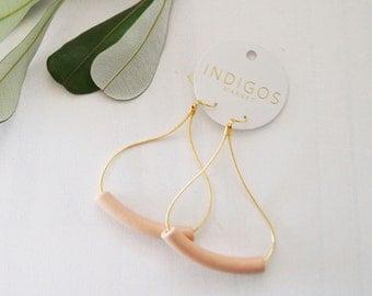 Gold & Peach Ceramic Teardrop Earrings