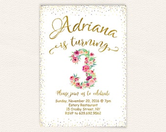 3rd birthday, watercolor floral, white and gold, girl birthday, third birthday, birthday invitation, birthday party, floral invitation 68