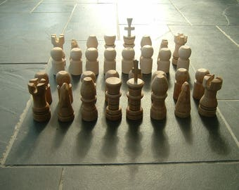 Large hand carved Chess set Bone Oak & White Ash 100% original zero carbon footprint handmade