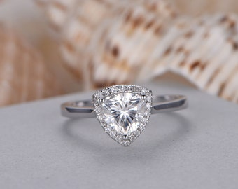 6.5mm Ttrillion Cut Moissanite Engagement Ring,14k White Gold,Anniversary ring,Promise ring,Halo,Art deco Halo,Pave Set,Prong,Gift for her