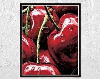 Cherry Kitchen print, Fruit Art, Cherries Printable, Fruit Wall Art,  Fruit Art, Food Print, Fruit Print, Kitchen Wall Art, printable poster