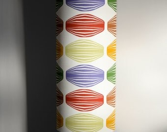 Tall lampshade with floor lamp base option, funky retro true Scandinavian fabric, handmade by vivid shades, stylish geometric scandi pattern