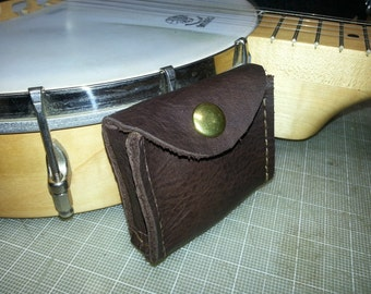 Banjo pick case, leather, made to order.