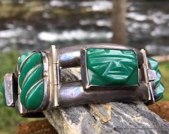Vintage Mexico Bracelet, 925 Silver, Jade and Silver Bracelet, Hecho en Mexico, Mexico Silver Bracelet, Vintage Silver Bracelet,  Del Rio