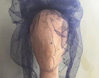 Veil, Bridal Veil, Veil Headband, Veil Headpiece, Costume Veil: Navy Tulle Veil with Glitter
