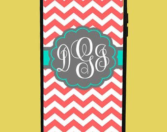 Orange Chevron&Blue Design Phone Case with 3 initials.  Customized Name. Monogrammed Case. Personalized.
