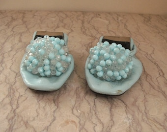 pair of vintage 1960's flat slippers with rosette