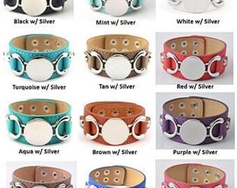 Wide Strap Leather Bracelet