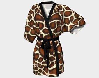 Giraffe Spots, Kimono Robe, Dressing Gown, Bridesmaid Robe, Coverup, Spa Robe, Swimsuit Coverup, Robe, Knit, Chiffon, animal print, giraffe