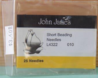 Size 010 Short Beading Needles, Pack of 25 by John James - TOOL-011